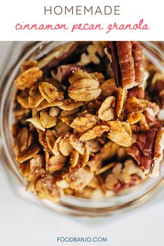 This homemade cinnamon pecan granola is easy to make a full of fall flavors! Never buy store-bought granola again with this easy recipe. #granola #granolarecipes #howtomakegranola Cinnamon Pecans, Honey And Cinnamon, How To Make Granola, Buy Store, Homemade Granola Bars, Banjo, Breakfast Recipes, Easy Meals, Recipes