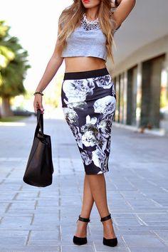 Printed Skirt Top Grey Crop