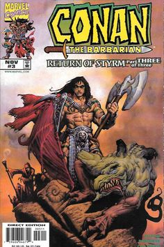 The Return Of Styrm __Written by Matthew Nixon , Pencils and painted cover by Paolo Parent , Forced to deal with the consequences of his Cimmerian rage, Conan is stuck between an evil, immortal sorcer
