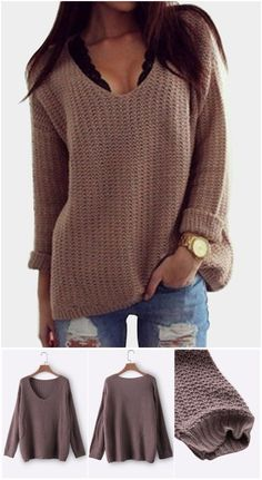 Coffee Low-cut V Neck Loose Plunge Sweaters US$17.95
