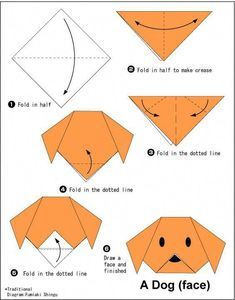 - Easy Origami For Kids Dog(face) - Easy Origami For Kids .Dog(face) - Easy Origami For Kids . Chat Origami, Instruções Origami, Origami Ball, Origami Folding, Paper Crafts Origami, Hanging Origami, Origami Bookmark, Easy Origami Animals, Easy Origami Flower