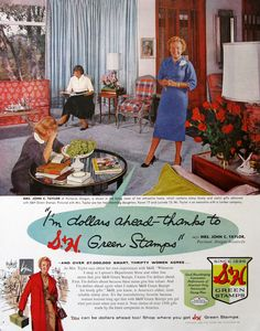 1960 S&H Green Stamps Ad - Frugal Living - Sperry and Hutchinson - Midcentury Living Room Decor 1960s Living Room, Mid Century Modern Living Room, 1960s Decor, Retro Home Decor, Vintage Advertisements, Vintage Ads, Retro Ads, 1950s Ads, Vintage Ephemera