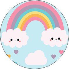 Fiestas Personalizadas Imprimibles: Topper Lluvia de amor. Descarga Gratis Donut Birthday Parties, Rainbow Birthday Party, Baby Birthday, Rainbow Party Decorations, Rainbow Parties, Cloud Party, Retro Candy, Rainbow Card, Chore Chart Kids