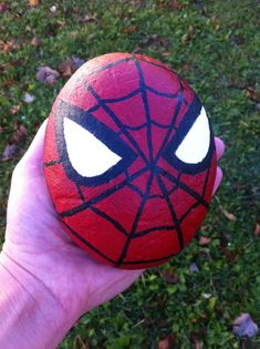 Spider-Man painted rock