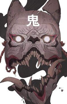 """Forgot to post up this Kitsune Mask drawing. Japanese Artwork, Japanese Tattoo Art, Japanese Mask, Kitsune Mask, Samurai Artwork, Samurai Drawing, Mask Drawing, Japon Illustration, Botanical Illustration"
