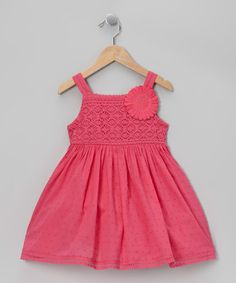 Take a look at this Pink Swiss Dot Daisy Dress - Toddler & Girls by Sweet Heart Rose on #zulily today!