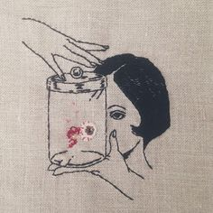Hand embroidery on natural linen • Adipocere