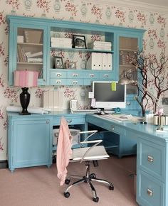 14 Feminine Home Office Design Ideas... GREAT IDEAS!    I love this one because the printer is in the cabinet, and not on top of the desk area.    Another great idea for my girly Scentsy Family office.