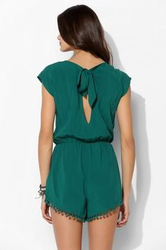 Staring At Stars Tie-Back Pompom Romper #urbanoutfitters