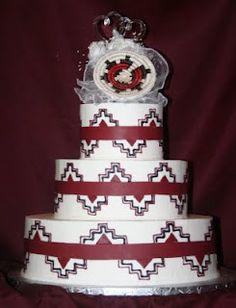 Navajo wedding basket cake. The freehand design is shakier than I would like.