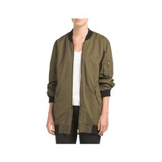 Juniors Long Bomber Jacket ($30) ❤ liked on Polyvore featuring outerwear, jackets, long bomber jacket, bomber jacket, brown bomber jacket, bomber style jacket and long brown jacket