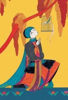 Bird and Kneeling Girl 20x30 poster
