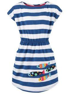 Frugi - Bílo-modré dívčí šaty s rybkami  Bryher - 1