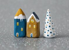 Christmas clay houses  Little winter village with 2 blue by rodica,