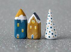 Christmas clay houses