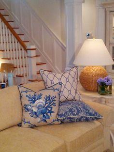 -Classic Cottage Chic- Blue  Beige Linen- Coastal Pillows - Beach Pillows