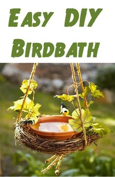 Easy DIY Birdbath!  {this bird bath project is so easy... and SO cute!}  #birds #birdbath