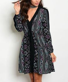 Take a look at this Black & Purple Geometric V-Neck Dress today!