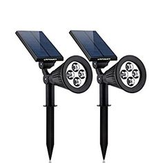 Solar Lights,URPOWER Waterproof 4 LED Solar Spotlight Adjustable Wall Light Landscape Light Security Lighting Dark Sensing Auto On/Off for Patio Deck Yard Garden Driveway Pool Pack) - List for Home and Garden Products