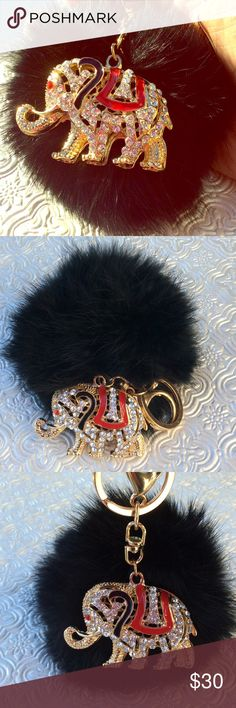 Elephant Fur Puff KeyChain Glamorous keychain to attach to your handbag. Feels great holding in your hand as well. Accessories Key & Card Holders