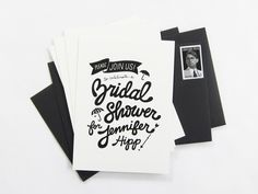 Black and white bridal shower invitations. Looking a unique design for your invitation? Here are some black and white bridal shower invitations which was covered by cloveranddot. Affordable Wedding Invitations, Bridal Shower Invitations, Types Of Lettering, Hand Lettering, White Bridal Shower, Carton Invitation, Wedding Sparklers, Branding, Wedding Images