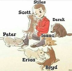 I have too many things to say : Scott licking Stiles! Derek in the back! (Still the sourwolf) Peter inspecting Stiles? Also Isaac just laying on Stiles , like awww . And also Erica and Boyd doing their own thing! Derek Teen Wolf, Stiles Teen Wolf, Teen Wolf Cast, Fan Art Teen Wolf, Arte Teen Wolf, Teen Wolf Boys, Teen Wolf Dylan, Stiles Derek, Teen Wolf Memes
