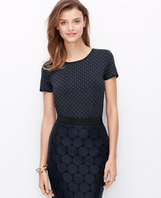 Dot Tee Paired With A Graphic Dot Pencil Skirt l Ann Taylor