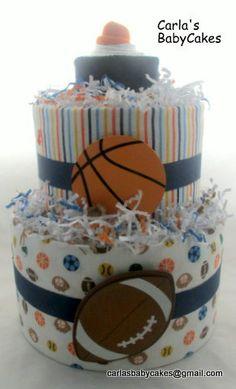 Boy diaper cake | Sports diaper cake | Baby shower gift | Baby Shower Decoration | New mom gift | Baby Diaper Cake | Baby Boy Gift by MsCarlasBabyCakes on Etsy
