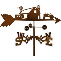 This weathervane is made of strong 14-gauge steel with a sealed ball bearing in the wind cups. The weathervane is coated with copper-colored powder coat paint, and features a farm scene with Farmall I