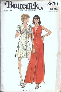 Butterick 3670 Misses Front Button Dress 70s Sewing Pattern Size 10 | PatternMania - Craft Supplies on ArtFire