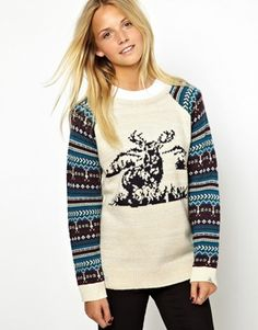 Image 1 of Bellfield Holiday Sweater With Stag Print And Patterned Sleeves