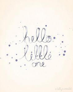 Baby Nursery Art - 8x10 Print 'Hello Little One' for Baby Girl Nursery - Handwritten Typography with Watercolor