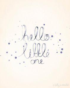 Baby Nursery Art - 8x10 Print 'Hello Little One' for Baby Girl Nursery - Handwritten Typography with Watercolor