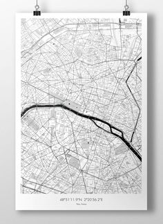 "Paris Map Poster BW 24""x36"""