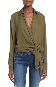 Missguided Side Tie Wrap Blouse available at #Nordstrom