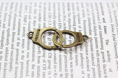 Handcuffs Charms Antique Bronze Tone 2 Sided by serendipity678