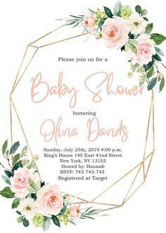 Gold Geometric Baby Shower Invitation, Geometric Floral Baby Shower Invitation, Terrarium, Polygona