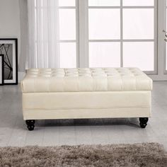 Luxury Comfort Classic Creamy White Tufted Storage Bench Ottoman