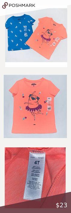 NWT Oshkosh Unicorn Shirt Top Girls Ruffle Short Sleeve Navy Blue Many Sizes
