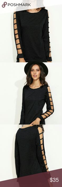 🆕 ARRIVAL 🆕 LADDER CUT OUT TOP BLACK LONG SLEEVED LADDER CUT OUT TOP! FITS SIZES: XS-M  -ACCEPTING REASONABLE OFFERS AND BUNDLE DISCOUNTS AVAILABEL! Tops