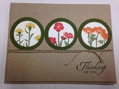 Wild About Flowers, Thinking of You Card, Stampin' Up!, Rubber Stamping, Handmade Cards