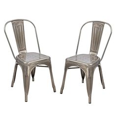 TOP SELLER! Adeco Silver Gunmetal Stackable Industrial Chic Tolix A Style Dining Chair, Outdoor and Indoor Set of Two