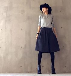 use navy skirt, navy tights with gray