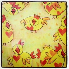 Yellow chickens on plak it!