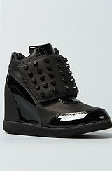 Jeffrey Campbell The Studded Teramo Sneaker in Black With Black Patent...<3