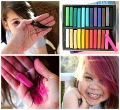 Dying hair with chalk pastels: wet hair, color, heat set with flat iron (carefully to avoid steam burns). perfect for halloween Hair Color Streaks, Hair Colour, Color 2, Dying Your Hair, Hair Chalk, Chalk Pastels, Oil Pastels, Wet Hair, Crazy Hair