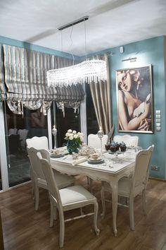 Salon - jadalnia w Częstochowie  Aranżacja wnętrz  Pracownia renowacji mebla www.pracownia-lili.pl