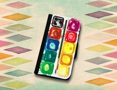 Watercolor Palette Paint Set Wallet Case. Choose iPhone 4//4s or 5//5s, Samsung Galaxy S3 or S4. on Etsy, $22.00