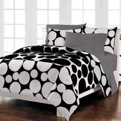 Black White Bedding Polka Dot Teen Girl Twin Full Queen Comforter Set Bed in a Bag Ensemble