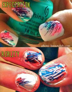 If you don't have a super light touch and great brush control then you MUST wait for the base color to dry! #nailartfail